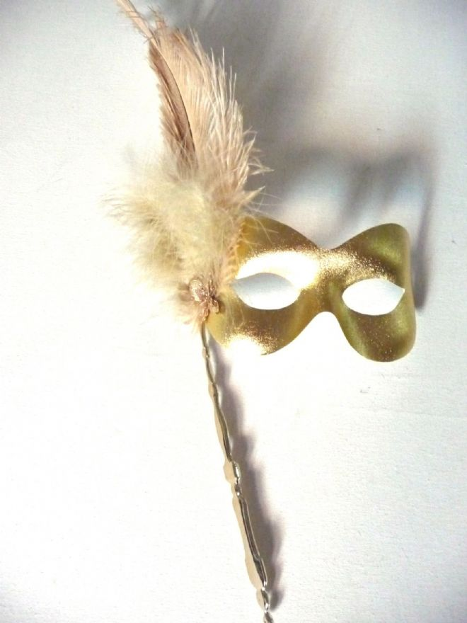 Gold  Ostrich feather Stick Mask (1)